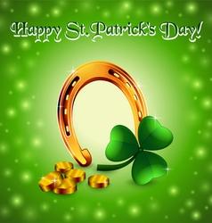Saint Patrick background with horseshoe vector