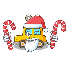Santa with candy clockwork toy car isolated on vector