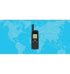 satellite phone isolated with world map as vector image