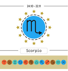 Scorpio signs of zodiac flat linear icons for vector