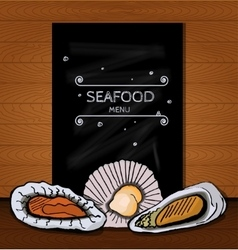 Seafood menus on a blackboard written in chalk for vector