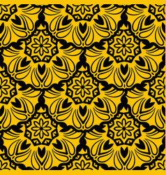 seamless yellow floral mandala pattern vector image