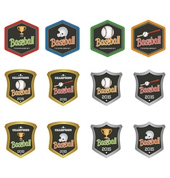 Set labels for baseball vector