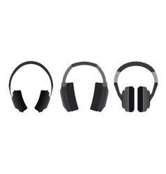 Set of flat headphone vector