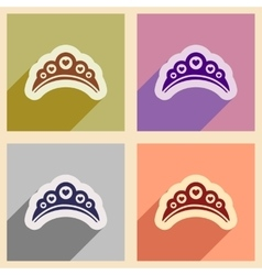Set of flat web icons with long shadow diadem vector