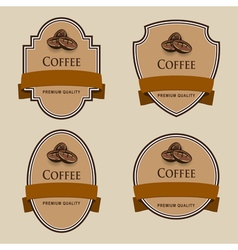 Set of labels with brown tape Coffee theme vector