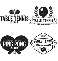 set ping pong logos emblems and design vector image