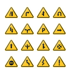 set triangle road warning signs vector image