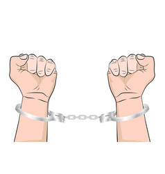 Shackled hands in handcuffs man in jail prisoner vector