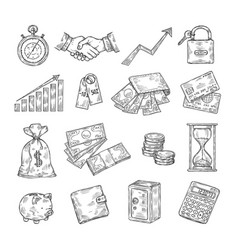 sketch money hand drawn coin pile piggy bank vector image