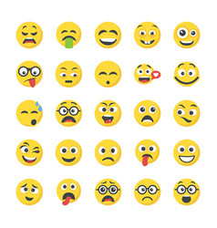 Smiley flat icons set vector