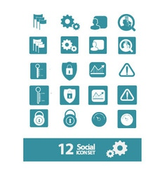 social icon set vector image