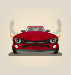 Sport red car front view flat cartoon vector