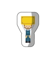 Sticker avatar worker with toolkit and plaque up vector