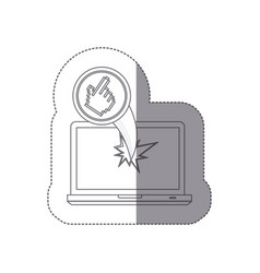 Sticker monochrome silhouette broken front view vector