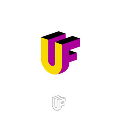 u and f logo letters 3d yellow purple monogram vector image