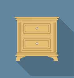 Vintage nightstand icon flat style vector