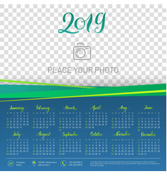 Wall calendar 2019 year copy space atop vector