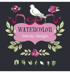Watercolor Floral Set of Design Elements vector image