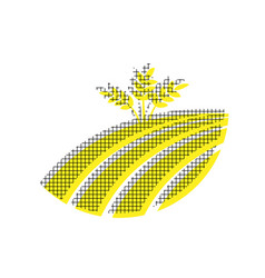 Wheat field sign yellow icon with square vector