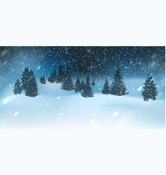 winter christmas background with blue night sky vector image