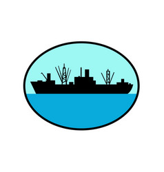 world war two attack cargo ship retro vector image