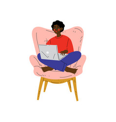 Young african american woman sitting in armchair vector