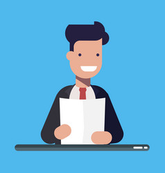 young businessman or manager with a document or a vector image