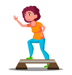 young fitness woman doing exercises on stepper vector image