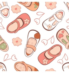 Baby girl shoes pattern vector image vector image