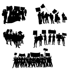 Cheering or protesting crowd silhouettes vector image vector image