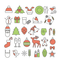christmas and new year thin line flat icon vector image vector image
