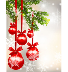 five shiny glossy red balls with bows and fir tree vector image vector image