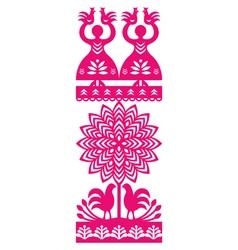 Polish folk art pattern Wycinanki Kurpiowskie vector image vector image