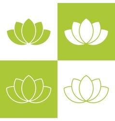 Simple green lotus plant set vector image