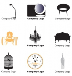 furniture logos vector image vector image