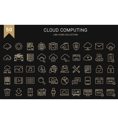 Set Flat Line Icons Cloud Service vector image vector image