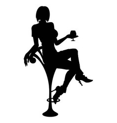 Silhouette girl sitting on a bar chair vector image vector image