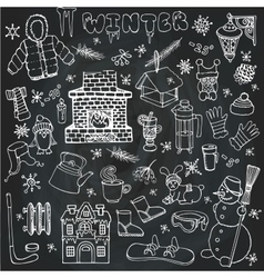 Winteer doodle iconselements setLinear vector image vector image
