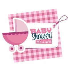 Baby Girl Stroller Invitation Card vector image vector image