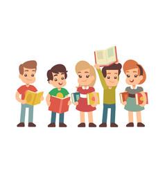 cartoon preschool children with books learning vector image