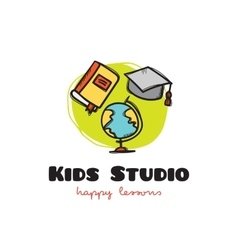 funny cartoon style educational logo with vector image