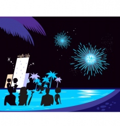 water party night vector image