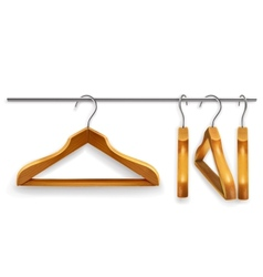 Wooden clothes hangers vector image vector image