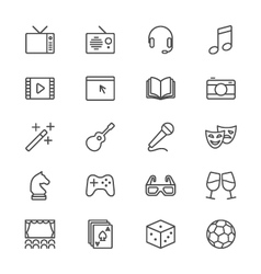 Entertainment thin icons vector image vector image