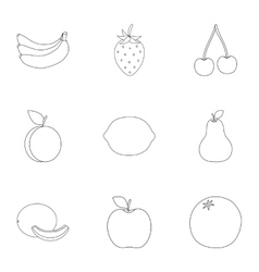 Fruits set icons in outline style Big collection vector image