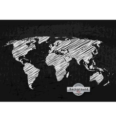 hand drawn white world map on a grey background vector image vector image
