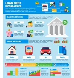 Loan debt infographics layout vector