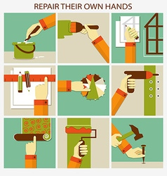 Repair their own hands Set of home remodeling vector image
