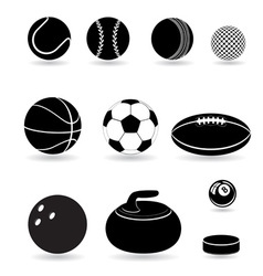 sport balls black and white vector image vector image